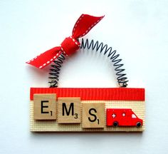 EMS emergency medical services ambulance by ScrabbleTileOrnament, $8.00