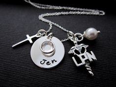 Personalized Nurse Necklaces, Hand Stamped Nurse Jewelry, Nurse LPN or RN Charm…