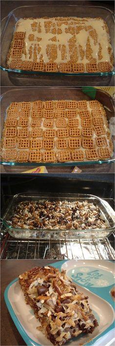 Caramel Pretzel Magic Bars Recipe OH WOW..these look amazing!!!!!