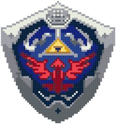Hylian Shield & Zelda, not a pattern yet, but easy enough to convert Cross Stitch Art, Cross Stitch Designs, Cross Stitching, Cross Stitch Embroidery, Embroidery Patterns, Cross Stitch Patterns, Perler Beads, Perler Bead Art, 8bit Art
