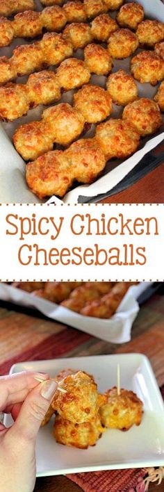 Spicy Chicken Cheesballs Move over sausage balls, we have a new favorite in town, and it's Spicy Chicken Cheeseballs!Spicy Chicken Cheeseballs - I wonder if these would work replacing baking mix with pork rind almond flour mixture?SAVED Move over m Fingerfood Recipes, Appetizer Recipes, Dinner Recipes, Delicious Appetizers, Appetizer Dinner, Spicy Appetizers, Mexican Appetizers, Breakfast Recipes, Diet Breakfast