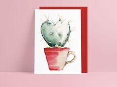 **Postkarte mit Umschlag** Süßer Herzkaktus – Digitaldruck meiner original Aquarell-Illustration. Perfekt für den Valentinstag. Die Rückseite ist frei zu beschreiben. Verschickt wird alles in... Happy Paintings, Poster, Inspiration, Etsy, Drawings, Watercolors, Illustration, Inspired, Watercolor Postcard