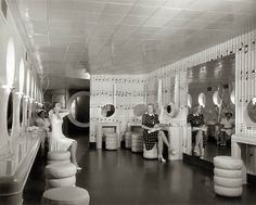 Powder Room on the Admiral, 1940 - View of the Powder Room on board the Steamer Admiral. Photograph by  Paul Piaget, 1940. Missouri History Museum Photographs and Prints  Collections.