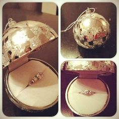 A Christmas proposal while decorating the tree. i love christmas so this is cute :)