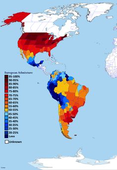 European admixture (% of European DNA) in the Americas by subnational entity