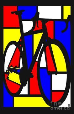 Mondrianesque Road Bike Painting