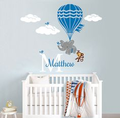 Hot Air Balloon Flying Elephant and Monkey Personalized Name Custom Initial Vinyl Wall Decal Sticker for Nursery or Kids Room