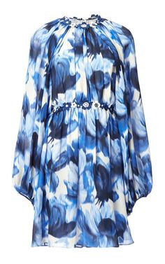 Floral Long Sleeve Mini Dress by Giambattista Valli Now Available on Moda Operandi