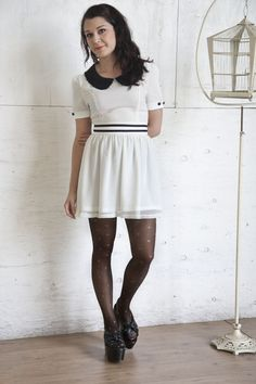 white dress - black pantyhose - black shoes