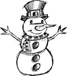Doodle Weihnachten skizzenhaften Snowman Vector Illustration  photo