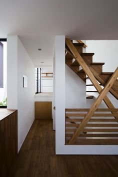 wooden slat staircase railing thing