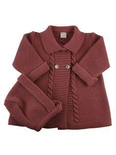 Abrigo de punto para bebe con capota