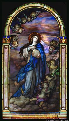 "Behold thy Mother and Holy Queen! ""Mary in Clouds"" Religious Stained Glass Window"