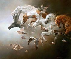 Caballos y aves surrealistas