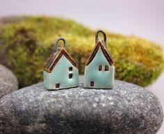 Turquoise GREENMiniature House Earrings by elukka on Etsy, €18.00