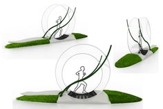 Green Wheel is an Energy-Harvesting Machine a zany exercise machine concept that harvests kinetic energy and converts it into electricity. Comprised of a single unit complete with a bench and patches of real grass, the green wheel features three different levels for runners of varying strengths and produces roughly enough energy in 30 minutes to charge 12 mobile phones. http://www.greenprophet.com/2012/07/green-wheel-nadim-inaty/