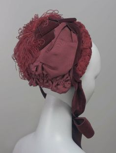 1880s, America - Hat - Silk faille, plush trim, ostrich feathers, velvet ribbon, and silk lining