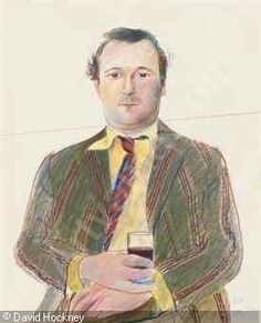 HOCKNEY David - Portrait of Peter Langan with a glass of wine