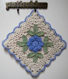 Irish crochet blue potholder | by LaceCrochet