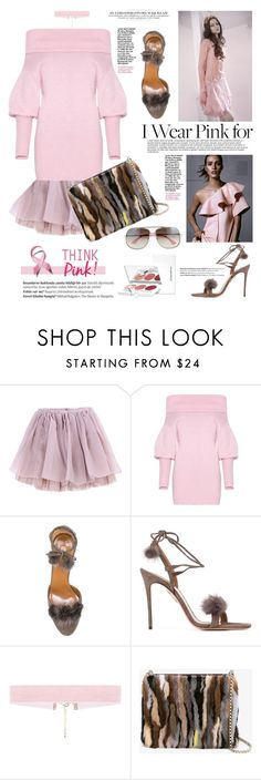 """""""Think Pink"""" by mood-chic ❤ liked on Polyvore featuring Olympia Le-Tan, Aquazzura, Sonia Kashuk, Christian Louboutin, Leroy & Perry, Balmain and IWearPinkFor"""