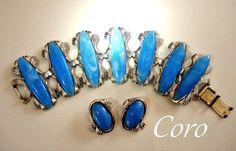 Coro Bracelet Earring Set Blue Vintage Silver by RenaissanceFair