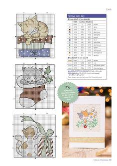 Cross Stitch Christmas Cards, Cross Stitch Stocking, Xmas Cross Stitch, Cross Stitch Kitchen, Cross Stitch Needles, Cross Stitch Cards, Cross Stitch Animals, Christmas Cross, Cat Cross Stitches