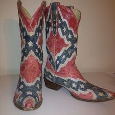 Confederate Flag Boots!!!! These are too too too cute :)square toe