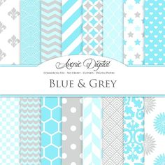 Blue And Grey Digital Paper @creativework247