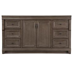 Home Decorators Collection Naples 61 in. W x 22 in. D Bath Vanity in Distressed Grey with Granite Vanity Top in Black - The Home Depot Gray Vanity, Bathroom Vanity Base, Vanity Cabinet, Granite Vanity Tops, Concealed Hinges, Drawer Design, Dovetail Drawers, Grey Cabinets, Bath Vanities