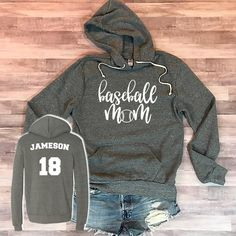 Cute Baseball Mom Outfits - baseball mom sweatshirt and shorts - Baseball Shirts, Baseball Outfits, Baseball Teams, Baseball Pants, Baseball Lineup, Sports Mom Shirts, Softball Mom Shirts, Baseball Jackets, Baseball Gloves