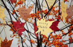 Find the leaf with your name and table number on it - love for fall wedding!