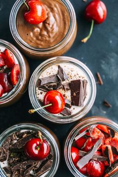 vegan espresso mousse made with coconut milk, espresso powder and fresh cherries | #vegan