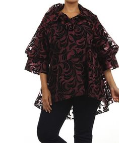 Look what I found on #zulily! Burgundy & Black Flourish Jacket - Plus by Come N See #zulilyfinds