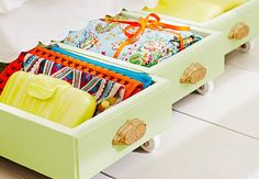 How to turn old drawers into nifty under-bed storage. VIA Lowe's.