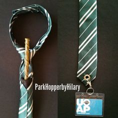 Slytherin tie with built-in wand holster and lanyard!