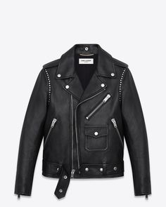 Saint Laurent Studded Motorcycle Jacket in Black Leather