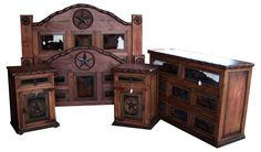 Beautiful dark stained Star bedroom set with cowhide accents by Cowhide Western Furniture Store