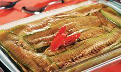 Abobrinha gratinada. Cardápio: abobrinha gratinada, assado de carne moída com mandioquinha, arroz e feijão.