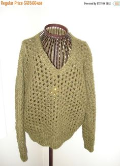 ON SALE TODAY - For the Mr or Mrs/Ms/ Ready to ship, Handmade Knit green Luxury Mohair Sweater/Size small to large// Ready to Ship Today by ufer on Etsy