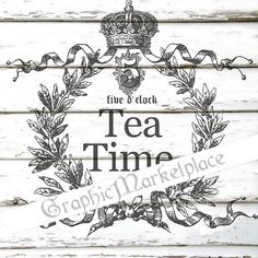 Tea Time five o clock Wreath Instant от GraphicMarketplace на Etsy