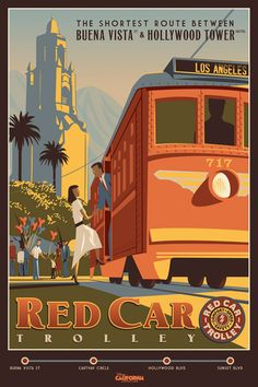 Red Car Trolley poster for Disney California Adventure.