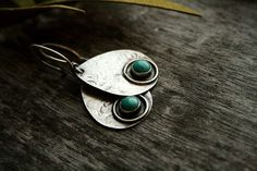 Silver Turquoise Earrings Hammered Sterling Silver Jewelry