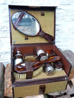 Vintage 1930s Celluloid Vanity Dresser Set Boudoir Gifts For Her Accessories Home Decor Hair Receiver Powder Box Nail File Pinterest