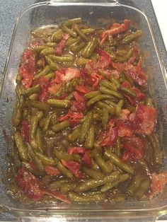 These green beans are amazing! They are sweet and savory! My husband LOVED them! And it's so easy!        Arkansas Green Beans    Ingredients:    5 15 oz cans green beans, drained    12 slices bacon    2/3 cup brown sugar    1/4 cup butter, mel...