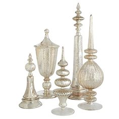 Antiqued glass finials set.  I love them and need them for my bedroom...