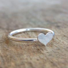 Heart Stacking Ring  Sterling Silver Heart Ring by TesoroDelSol