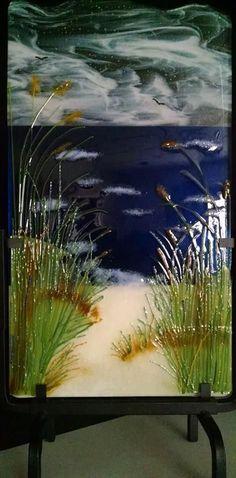 Beautiful fused glass seascape