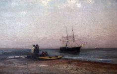 """""""Steam Wheeler May & Helen at Anchor off the Alaskan Coast,"""" Robert Swain Gifford, 1899, oil on canvas, New Bedford Whaling Museum."""