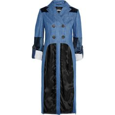 Miu MiuVelvet-paneled Denim Jacket (€1.950) ❤ liked on Polyvore featuring outerwear, jackets, mid denim, denim jacket, long denim jacket, long jacket, button jacket and jean jacket