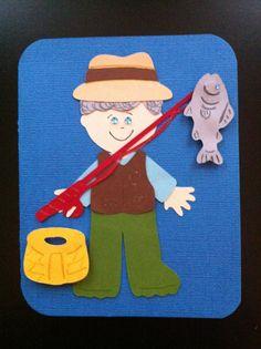 Fisherman Birthday Card. Cricut Everyday Paper Dolls.